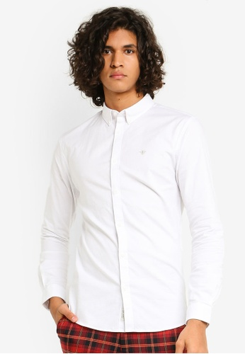 River Island 白色 修身剪裁牛津長袖襯衫 BEA54AAD429DA3GS_1