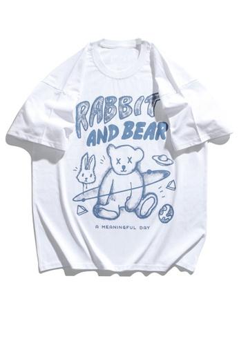 Twenty Eight Shoes Graffited Bear Printed Short T-shirt HH1031 E3F25AAE752E46GS_1