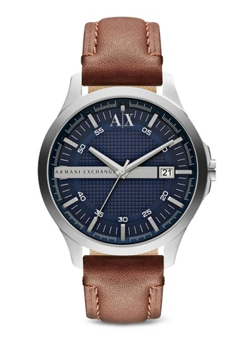 Armani Exchange brown Armani Exchange Dark Brown Leather Watch AX2133 AR162AC61NEGMY_1