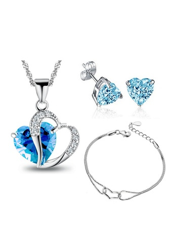 YOUNIQ silver YOUNIQ Aegean Sea 925 Sterling Silver Necklace Pendant With Blue Cubic Zirconia, Earrings and Bracelet Set YO999AC30KZXMY_1