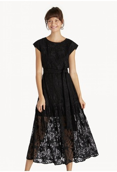 01fe71c635f Pomelo black Premium Midi Lace Belted Skater Dress - Black  16125AA3A28D16GS 1