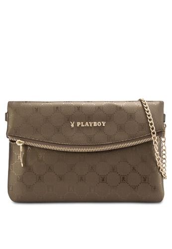 PLAYBOY BUNNY gold Playboy Bunny Clutch Sling Bag PL604AC71DROMY_1
