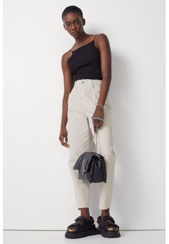 H&M beige High Waist Twill trousers C7E88AA4249FCAGS_1