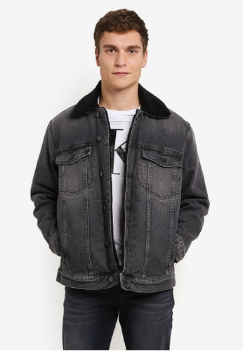 Calvin Klein black Sherpa Trucker Jacket - Calvin Klein Jeans CA221AA0S01CMY_1