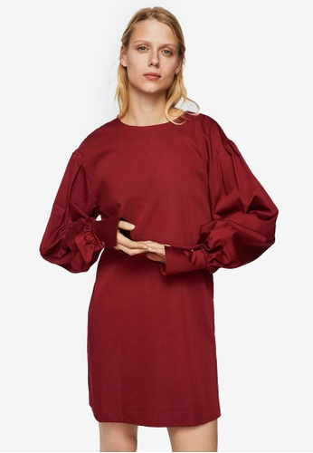 Mango red Puffed Sleeves Dress D3924AA7F82BB6GS_1