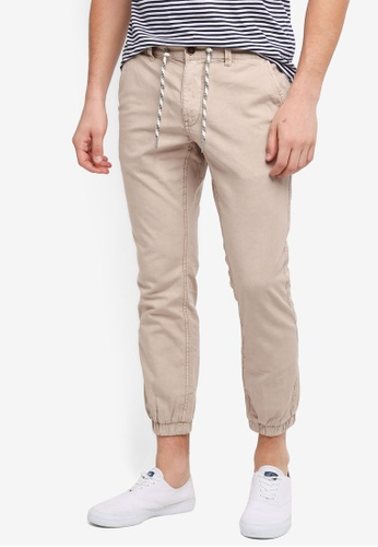 ESPRIT beige Cotton/Linen Blend Jogger Pants BF468AA5D0F6B7GS_1
