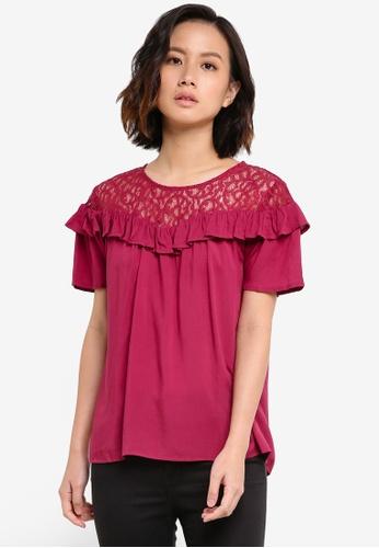 ZALORA red Lace Yoke Short Sleeve Top 0E8A6ZZ95CE25BGS_1