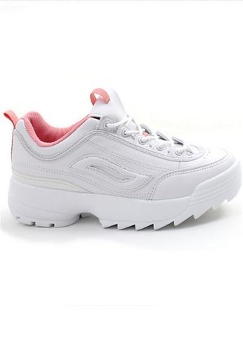 Crystal Korea Fashion 白色 and 粉紅色 韓國製春夏新款顯瘦厚底內增高鞋 9D904SHEB9C22FGS_1