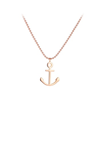 Glamorousky silver Simple and Fashion Plated Rose Gold Anchor 316L Stainless Steel Pendant with Necklace FFC8EACF4D8EF9GS_1
