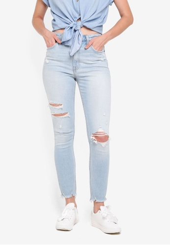 Abercrombie & Fitch blue Light Destroy Simone Skinny Jeans BEB38AA3A6324AGS_1