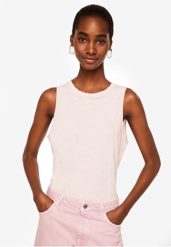 Mango pink Frayed Neck Top 341DEAA5A3308BGS_1