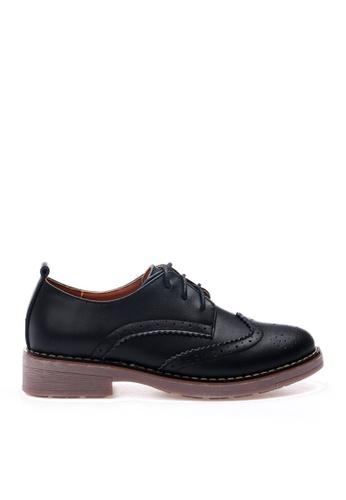 Twenty Eight Shoes 黑色 牛皮拷花綁帶鞋 VL337 4BCA8SHB6CB750GS_1