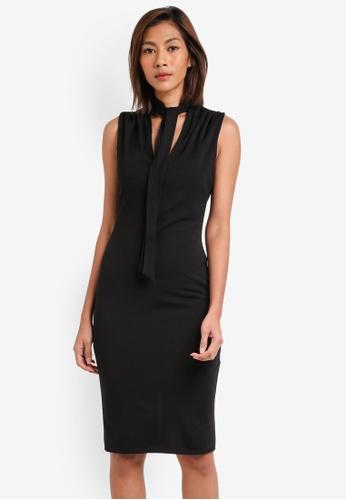 Goddiva black Tie Collar V Neck Midi Dress GO975AA0SSCIMY_1