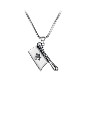 Glamorousky silver Fashion Personality Kitchen Knife 316L Stainless Steel Pendant with Necklace 86EB6AC17D28BBGS_1