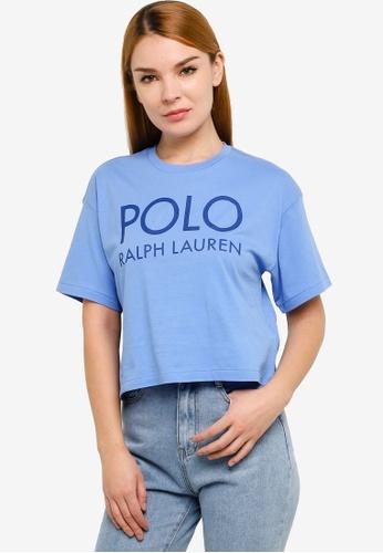 Polo Ralph Lauren blue Short Sleeve Crop Boxy T-Shirt 53C65AA62E0708GS_1