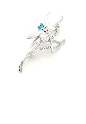 Glamorousky silver Dragonfly Brooch with Green and Silver Austrian Element Crystals 7460EAC17C6F3BGS_1