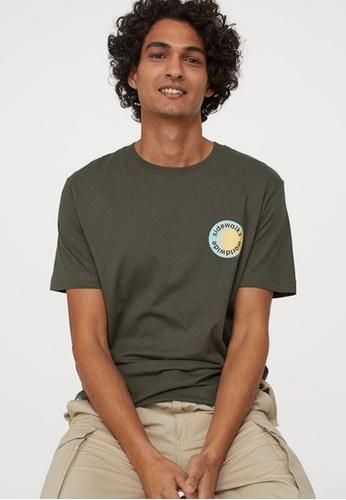 H&M green Printed T-Shirt 80D14AABDAEB3FGS_1