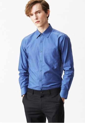Life8 blue Dobby Long Sleeve Shirt-11086-Blue LI283AA16AAXSG_1