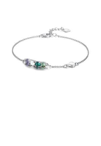 Glamorousky multi 925 Sterling Silver Simple Elegant Light Luxury Fashion Bracelet with Multicolor Austrian Element Crystal 00D3FAC1F2889FGS_1
