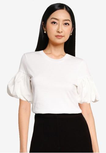 URBAN REVIVO white Casual T-Shirt D6E38AA9979C1DGS_1