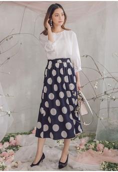 856b6a34df393 35% OFF Yoco Polka Dot Printed Skirt Panel Dress S$ 64.90 NOW S$ 42.30  Sizes S M L