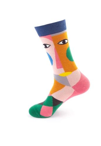 Kings Collection 粉紅色 抽象圖案舒適襪子 (均碼) HS202261 4CDD9AA5D8E40FGS_1