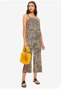 968605bbb82 TOPSHOP brown and multi Petite Leopard Print Jumpsuit 5C064AADCC2338GS 1