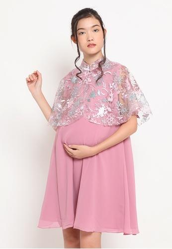 Chantilly pink 2-in-1 Maternity/Nursing Dress Party Cape Glitter 04C8DAA33505B2GS_1