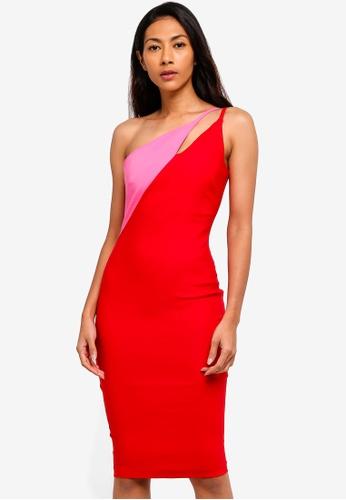 Vesper red Vesper Fauna Asymmetric Contrast Midi Dress 13389AA46BAAD1GS_1