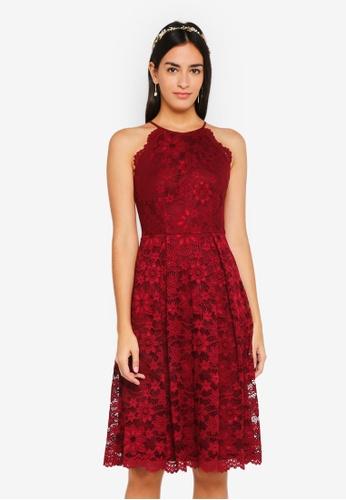 ZALORA red Bridesmaid Halter Lace Dress 283F4AA4803A31GS_1