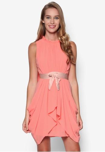 不對稱裙擺繫帶連身裙,esprit 台中 服飾, 洋裝