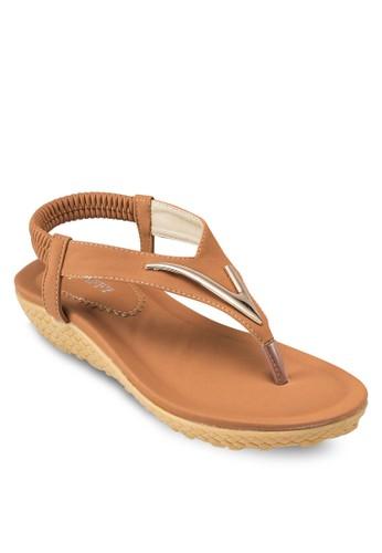 esprit 高雄金飾夾腳繞踝厚底涼鞋, 女鞋, 鞋