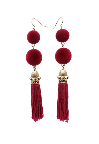 LUCCACAL red Pom Pom Tassel Earrings 9D456AC0E72E41GS_1