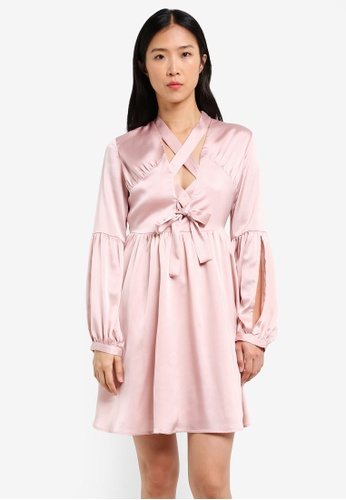 LOST INK pink Lace Up Fit And Flare Dress LO238AA0RVJPMY_1