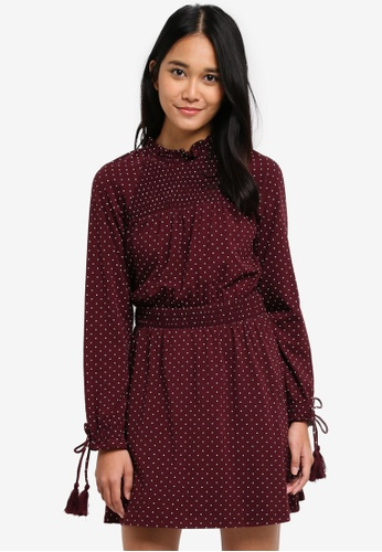 TOPSHOP red Spotted Shirred Waist Mini Dress 786C1AA02F05DAGS_1