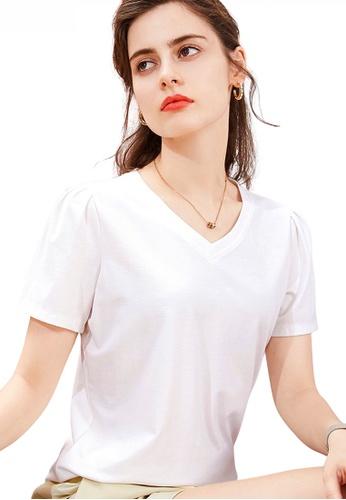 HAPPY FRIDAYS 白色 泡泡袖領VT恤 JW GW-J203 23A61AAF19F744GS_1
