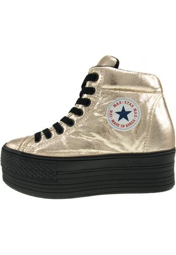 Maxstar 金色 新款韩国鞋C50-Taller-TC時尚皮革布混合女金色 US Women Size MA345SH48GVFTW_1