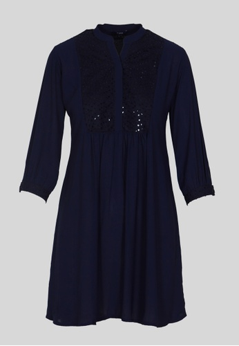 Le Reve blue and navy LE REVE WOMEN Blue ¾ Sleeve Fit-n-Flare Tunic Mini Dress B48BAAAE967078GS_1