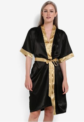 Impression black Satin Kimono Robe IM679AA67VQYMY_1