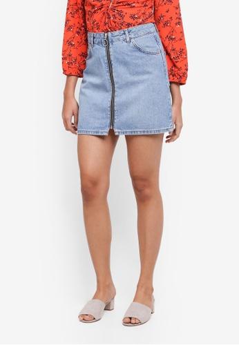 TOPSHOP blue Zip Through Denim Skirt D5D6CAA6922D44GS_1