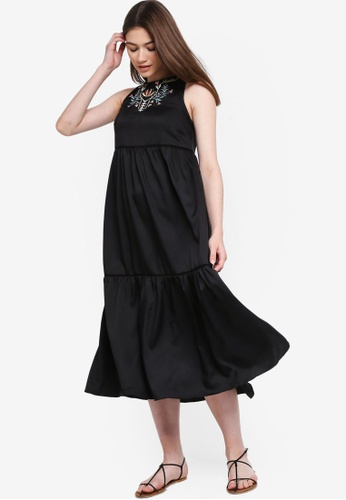 Something Borrowed black Embroidered Tiered Midi Dress E75DDAA5E588C3GS_1