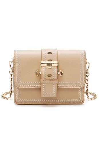Lara beige Women's Front Flap Buckle Crossbody Bag 5FB27ACC37E4F2GS_1