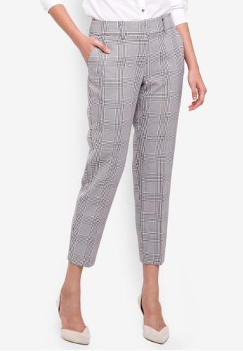 Dorothy Perkins multi Black/Port Check Ankle Grazer Pants 4FF6CAA1AB71EAGS_1