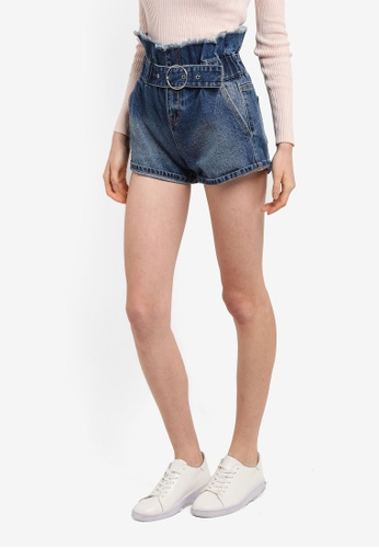 LOST INK blue Paperbag Belted Shorts 237A8AAD9A6D2AGS_1