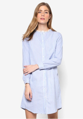 Natalie 條紋長袖襯衫連身裙, 服飾esprit 會員, 洋裝