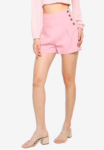 ZALORA BASICS pink Side Buttons Detail Shorts A5107AAEDDC322GS_1