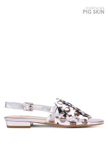 LOST INK 銀色 金屬感鏤空涼鞋 CD29CSHABECE8BGS_1