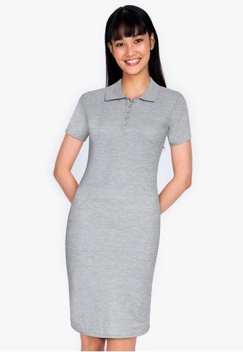 ZALORA BASICS grey Collared Bodycon Dress 3F0BAAAA03F9EDGS_1
