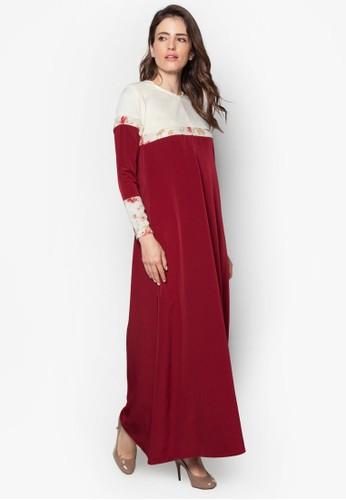 Casalizalora 心得ly 02 印花拼接撞色長洋裝, 服飾, 燦色奪目