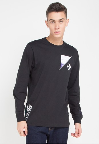 Converse black and multi Mountain Photo Long Sleeve T-Shirt 205E3AA90CC2B4GS_1